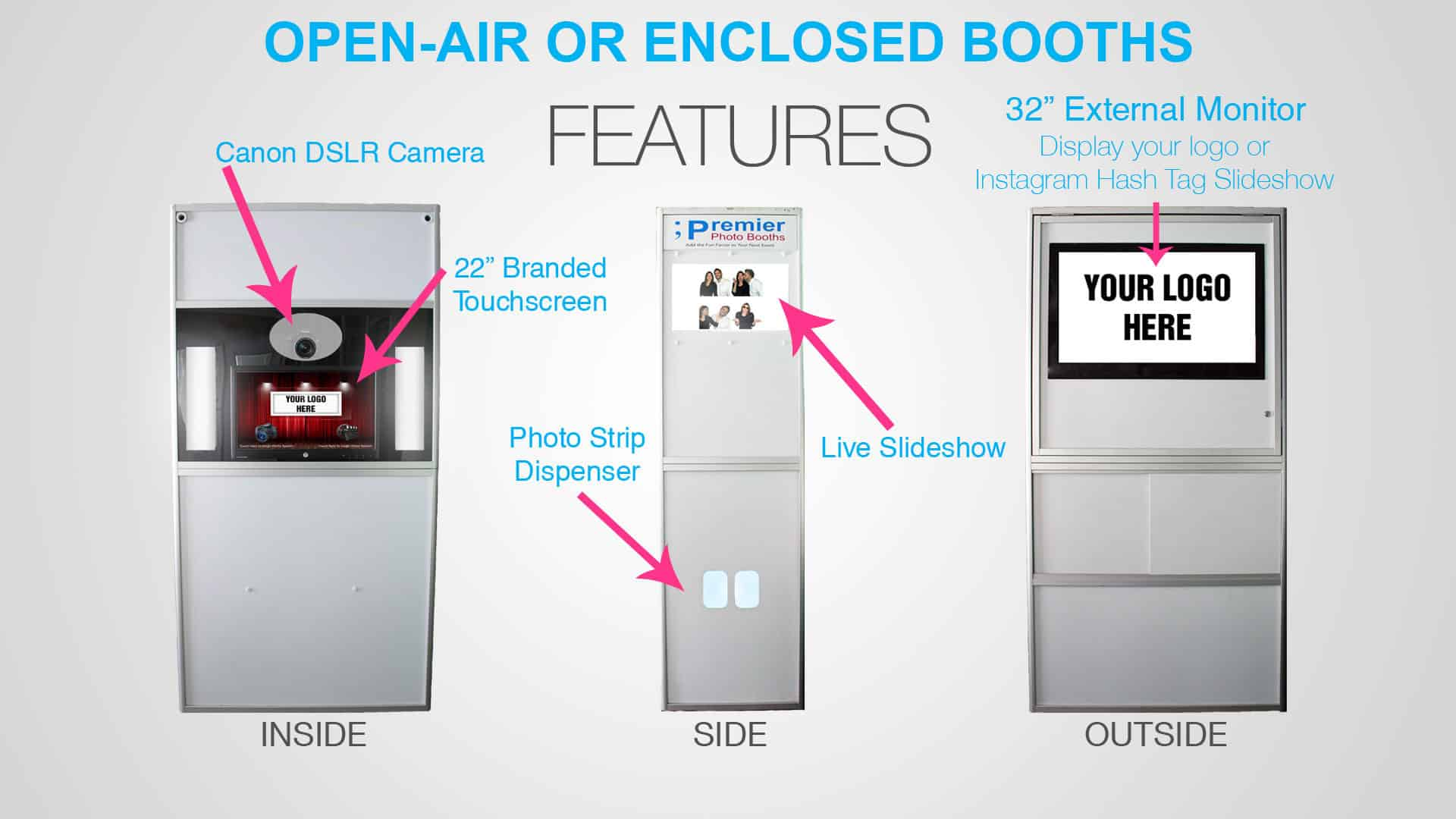 Open-Air or Enclosed Photo Booths